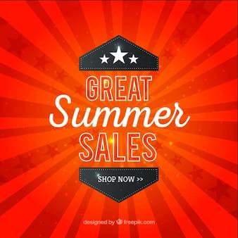 Sales zomer op een rode sunburst achtergrond