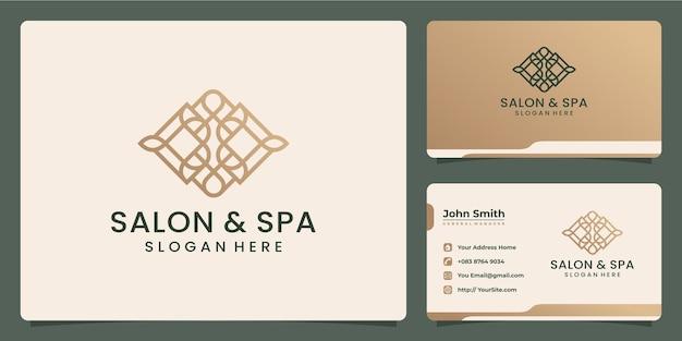 Salon en spa luxe monoline logo-ontwerp en visitekaartje