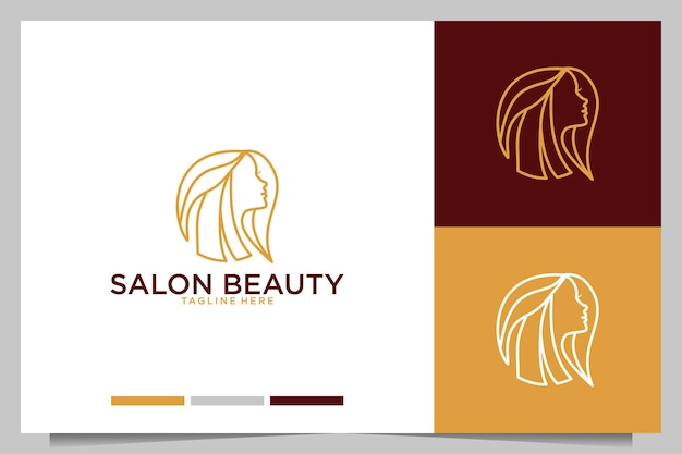 Salonschoonheid met logo-ontwerp voor vrouwen