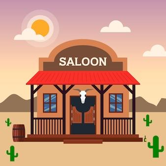 Saloongebouw in het wilde westen