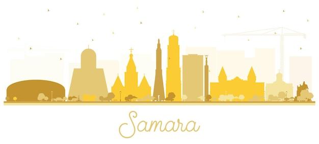 Samara rusland city skyline van silhouet met gouden gebouwen geïsoleerd op wit. vectorillustratie. zakelijk reizen en toerisme concept met moderne architectuur. samara stadsgezicht met monumenten.