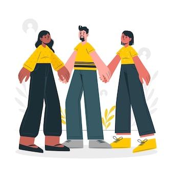 Samen concept illustratie
