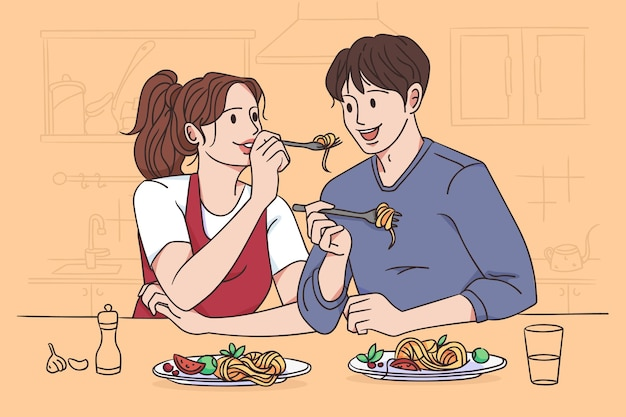 Samen pasta eten concept