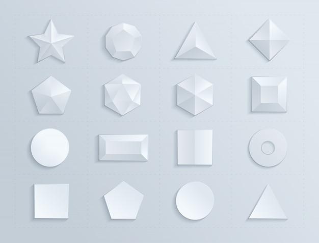 Samengestelde geometrische figuren in witte kleur