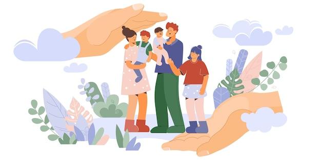 Samenstelling gezinsbescherming met karakters Gratis Vector