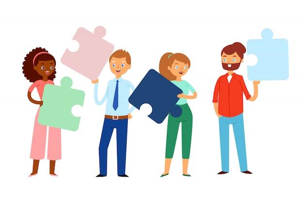 Samenstelling, mensen die puzzels in hun handen houden, helder concepten commercieel team, beeldverhaalillustratie.