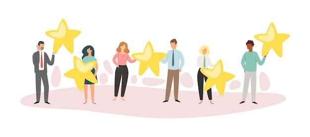 Samenstelling mensen ster, top positief concept, online applicatie, karakteristieke koper, illustratie. reputatie klant, gebruiker, beste beoordeling, schaalactiviteit.