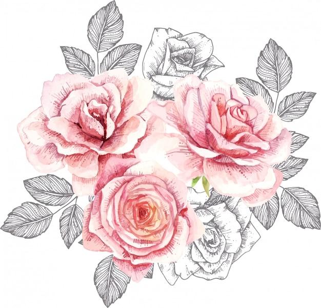 Samenstelling met aquarel rozen en inkt bladeren. hand getekende illustratie.
