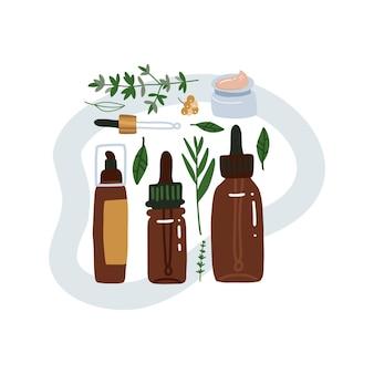 Samenstelling met blad en natuurlijke organische cosmetische producten in flessen, buizen en potten voor huidauto. vlakke afbeelding