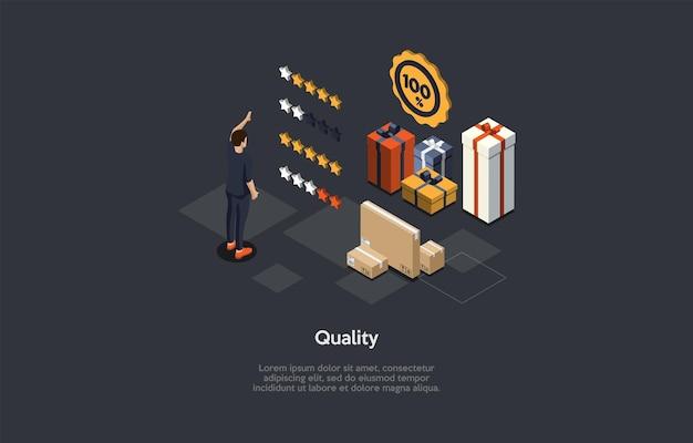 Samenstelling met karakter en tekst. isometrische vectorillustratie, cartoon 3d-stijl. kwaliteitsbeoordelingsconcept. producten beoordeling. kartonnen dozen, geschenken, sterrenbeelden, man- en infographic-items in de buurt