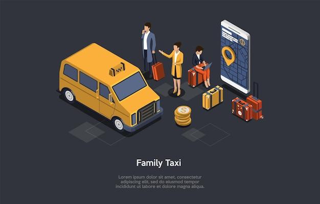 Samenstelling op donkere achtergrond met infographics. isometrische vectorillustratie, cartoon 3d-stijlobjecten. grote gele familietaxi, weinig karakters in de buurt, smartphone met kaart op scherm, koffers, munten.
