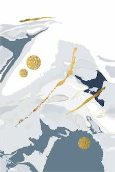 Samenstelling van abstracte vormen en bladeren gouden lijnen winter grijze achtergrond stijl van minimalisme