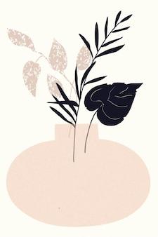 Samenstelling van abstracte vormen en botanische elementen stijl van minimalisme handgetekende poster