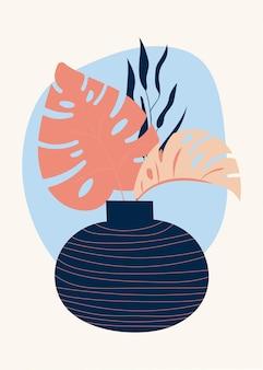 Samenstelling van abstracte vormen, vazen en botanische elementen, stijl van minimalisme, met de hand getekend.