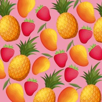 Samenstelling van ananas met aardbeien en mango's