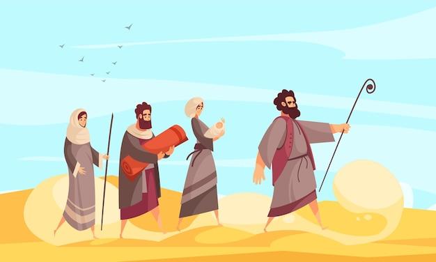 Samenstelling van bijbelverhalen met woestijnlandschap en karakter van mozes die mensen de weg leidt door zandillustratie