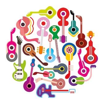 Samenstelling van de gitaren kleurrijke cirkel
