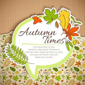 Samenstelling van de herfsttijden met bladeren print en witte wolk met plaats voor tekst