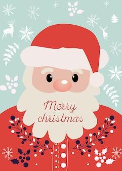 Samenstelling van de kerstman met vrolijk kerstfeest schreef op zijn baard.