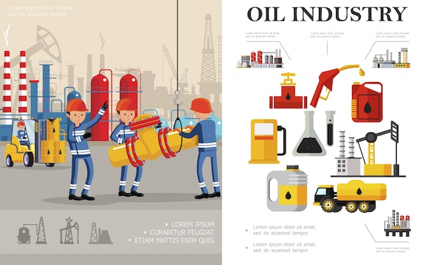 Samenstelling van de platte olie-industrie met industriële arbeiders brandstofvrachtwagen petrochemische fabriek olieboortoren boorinstallatie bussen kolven vaten benzinestation pomp Premium Vector
