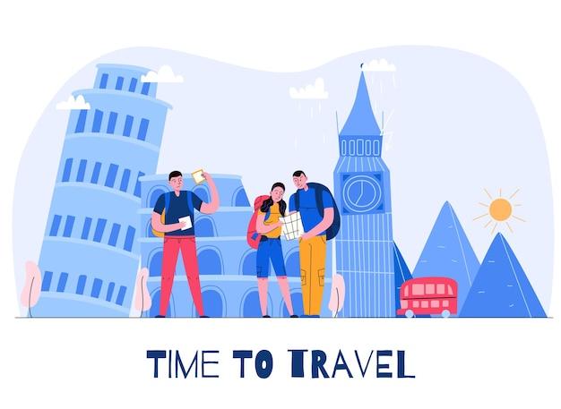 Samenstelling van de toerismestad met tijd om kop te reizen en drie toeristen op vakantieillustratie