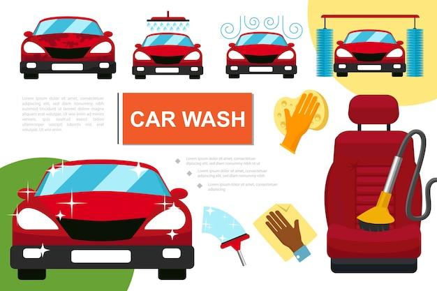 Samenstelling van de wasservice voor platte auto's