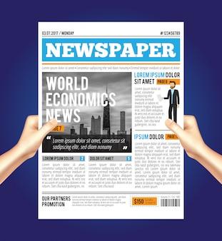 Samenstelling van de wereld economische krant