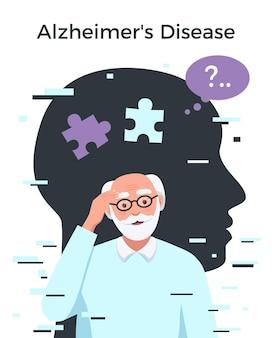 Samenstelling van de ziekte van alzheimer met senior man