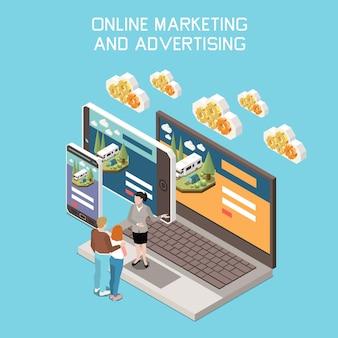 Samenstelling van digitale marketingtransformatie met gadgets en menselijke karakters op blauw
