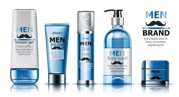 Samenstelling van douchegel en vochtinbrengende lotion voor mannen