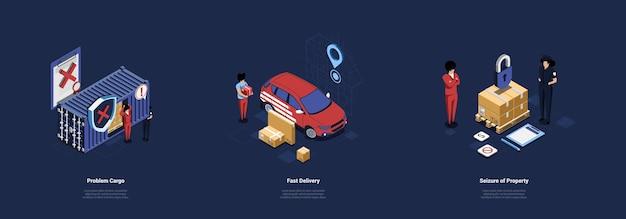 Samenstelling van drie verschillende illustraties van delivery service concept Premium Vector