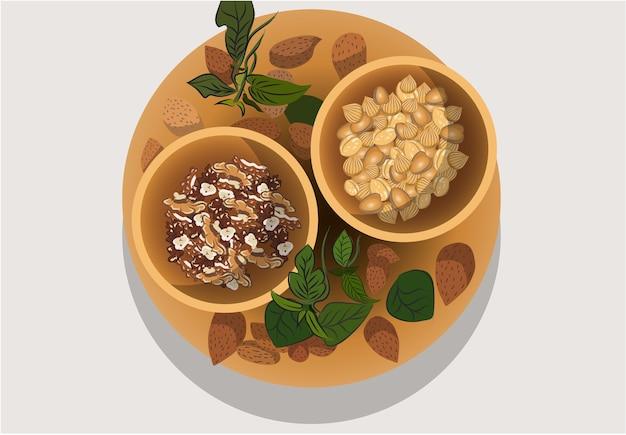 Samenstelling van een bord en twee steenpuisten gevuld met verschillende noten amandelen walnoten hazelnoten