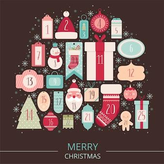 Samenstelling van feestelijke labels en tags voor de adventskalender van kerstmis.