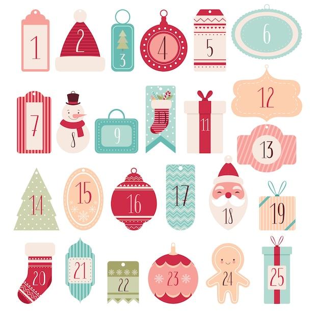 Samenstelling van feestelijke labels en tags voor kerst adventskalender