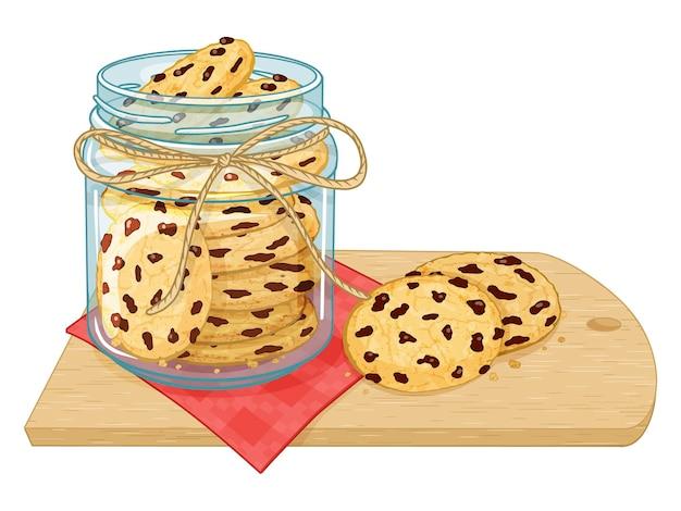 Samenstelling van glazen pot met koekje en chocolade.