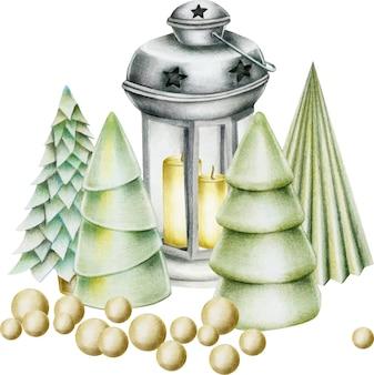 Samenstelling van hand getrokken kerstversiering