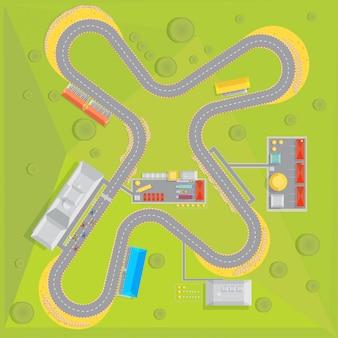 Samenstelling van het racecircuit met bovenaanzicht van de racebaan met groene omgeving en infrastructuur