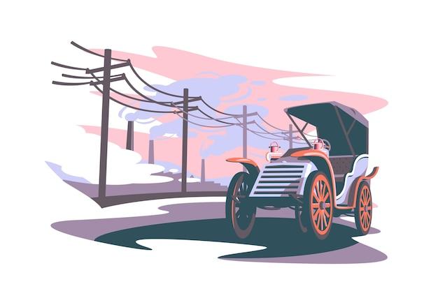 Samenstelling van industriële leeftijd vector illustratie abstracte symbolische globale samenleving verschuiving proces vlakke stijl industriële ontwikkeling en moderne wereld verandering concept geïsoleerd
