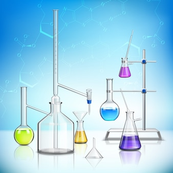 Samenstelling van laboratoriumglaswerk