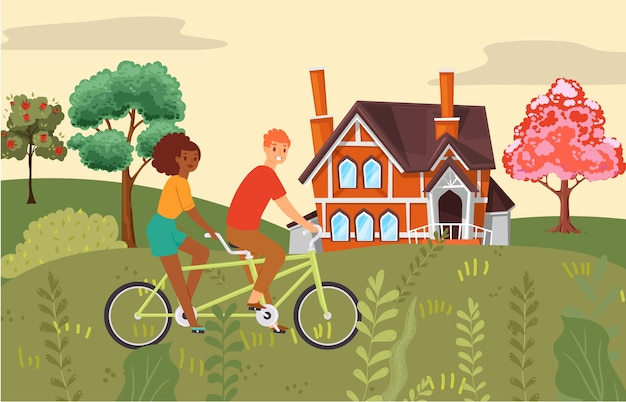 Samenstelling van mensen, paar fietsen samen, sportactiviteit, gezond leven, stijl illustratie. buitenpark, fiets voor twee, actieve reis, transportvoertuigen.