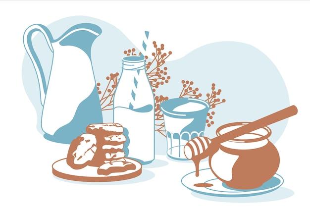 Samenstelling van ontbijtobjecten melk, glas, koekjes, koekje, honing, decoratieve planten geïsoleerde witte achtergrond