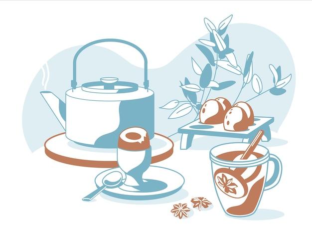 Samenstelling van ontbijtobjecten thee, glas, tapot, citroen, eieren, decoratieve planten geïsoleerd witte achtergrond