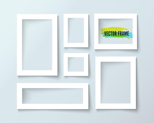 Samenstelling van papieren witte frames op grijze muur, realistisch vectorontwerp