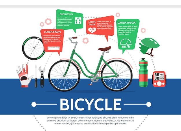 Samenstelling van platte fietselementen met fietswiel fles helm snelheidsmeter handschoen moersleutel schroevendraaier