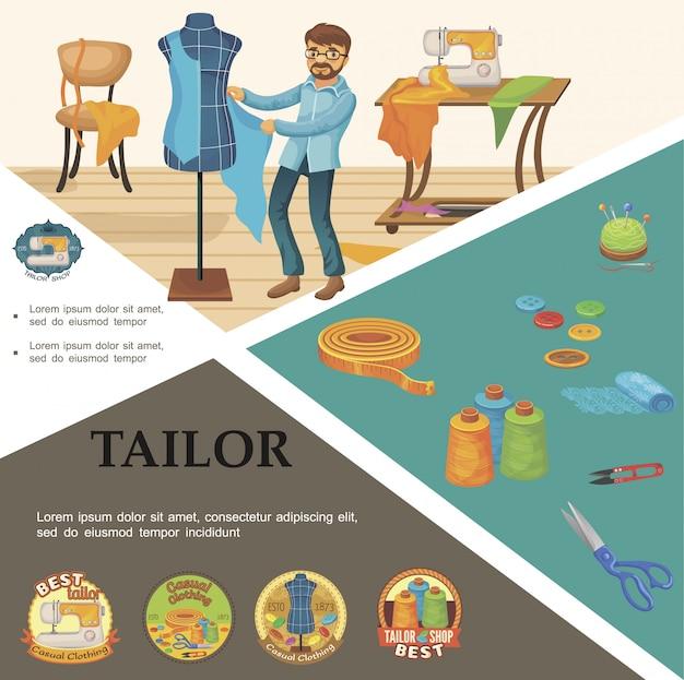 Samenstelling van platte kleermakerselementen met kleermakerspop meetlint spoelen van draad schaar stof knopen naaimachine