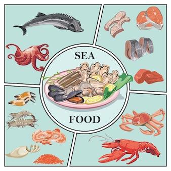 Samenstelling van platte zeevruchten met steur, krab, kreeft, garnalen, garnalen, kaviaar, haring, snoekbaars, vlees, mosselen, oesters