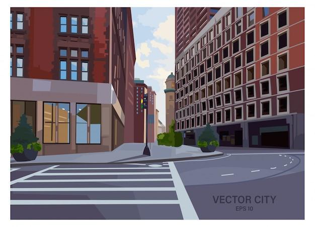 Samenstelling van stadskruising met verkeerslicht en voetgangersoversteekplaats