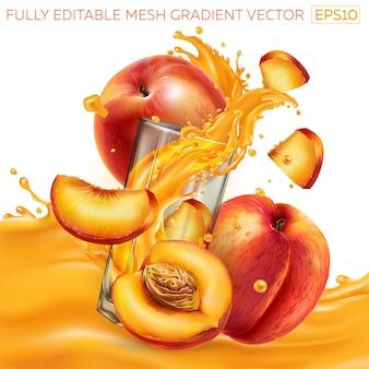 Samenstelling van verse perziken en een glas met een dynamische scheut vruchtensap.