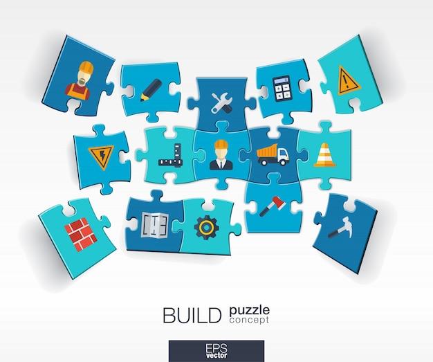 Samenvatting bouw achtergrond met verbonden kleurenpuzzels, geïntegreerde pictogrammen. infographic concept met industrie, bouw, architectuur, technische stukken in perspectief. illustratie