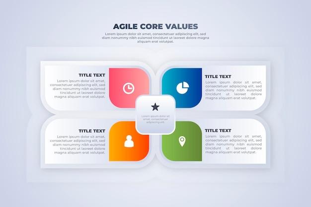 Samenvatting gekleurde agile infographic bloem